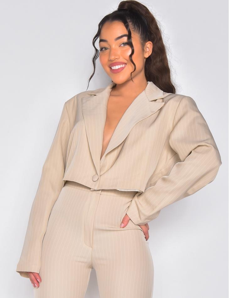 Veste de blazer courte à rayures