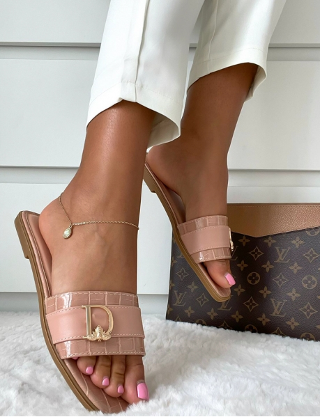 Faux Leather Sliders with Letter