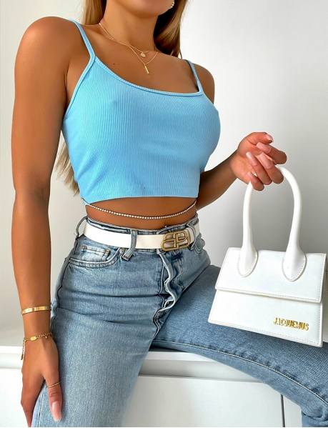 Ribbed crop top with diamenté chain