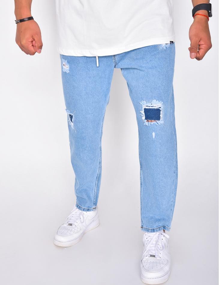 Jeans destroy ceinture élastique