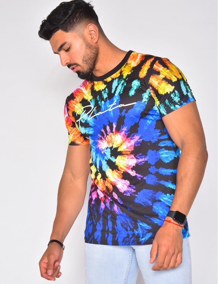 T-shirt à tâches multicolore