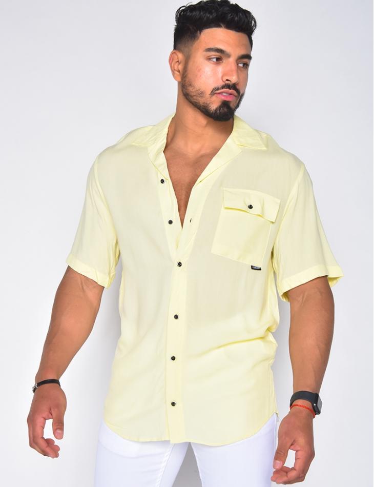 Chemise homme bouton bi-color