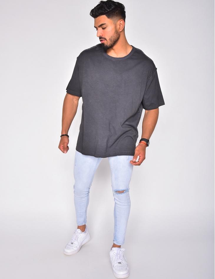 T-shirt chiné avec couture apparente