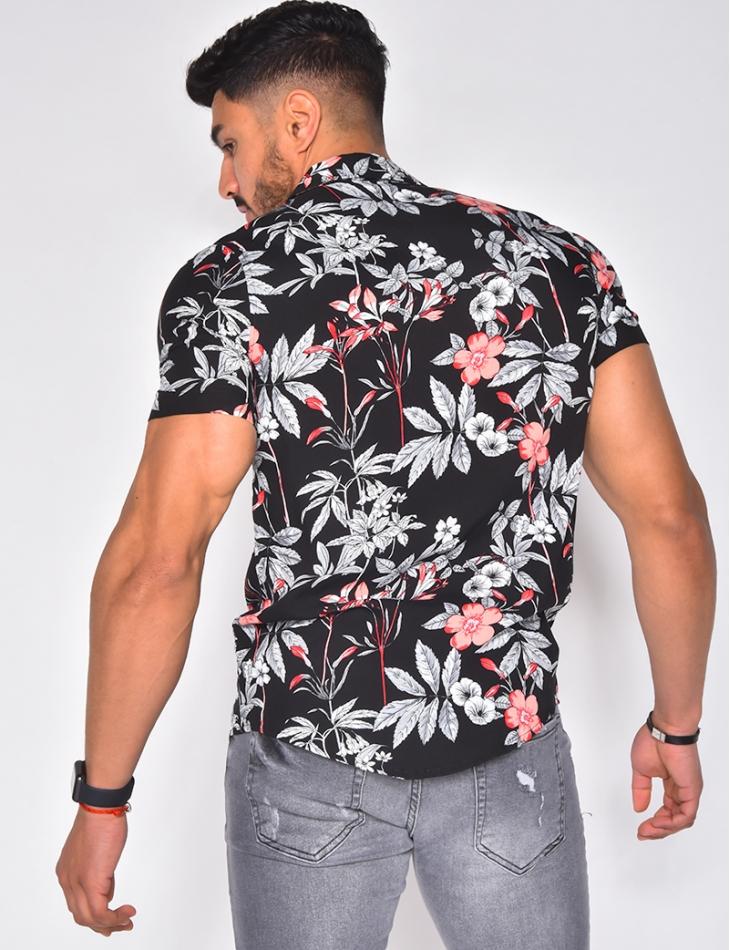 Chemise à motifs fleurs grises
