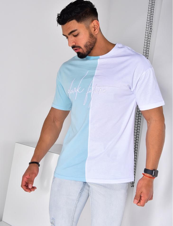"T-shirt ""Dark future"" brodé bi-color"