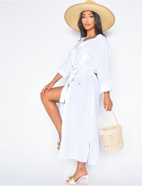 Long cotton shirt dress