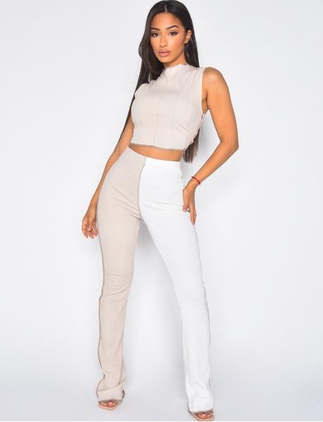 Bi-colour ribbed trousers