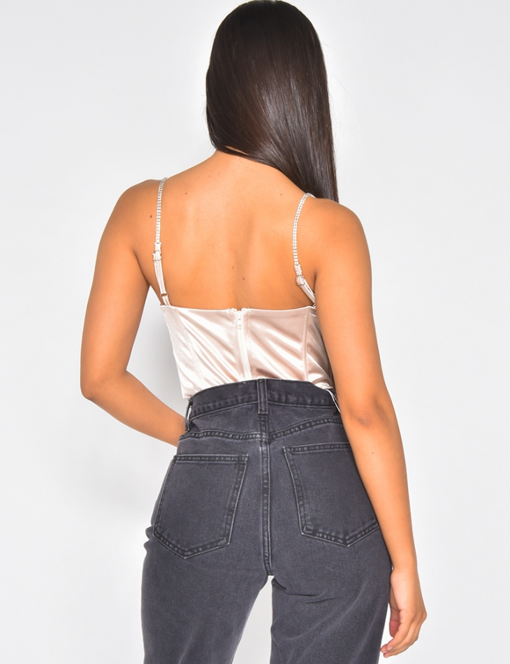 Crop top effet corset bretelles en strass