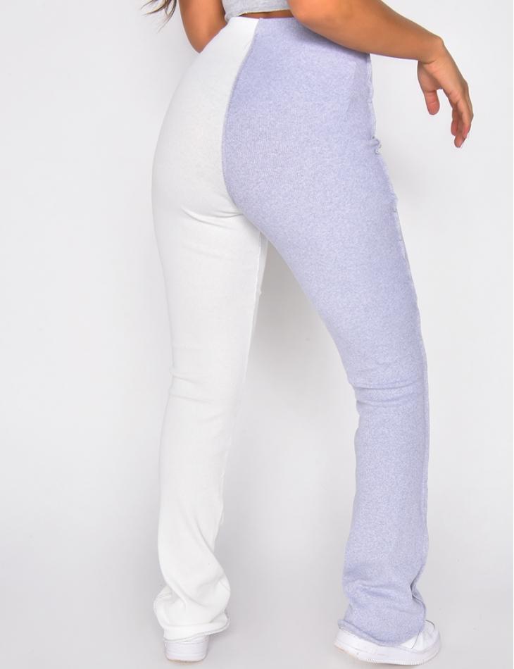 Pantalon côtelé bi-color