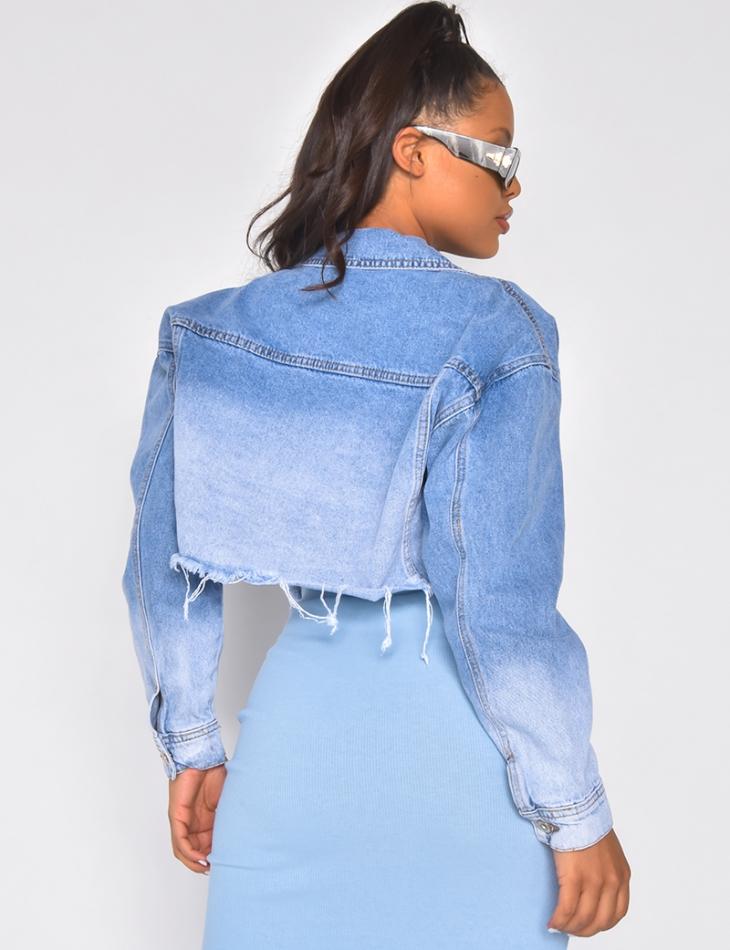 Kurze zweifarbige Jeansjacke