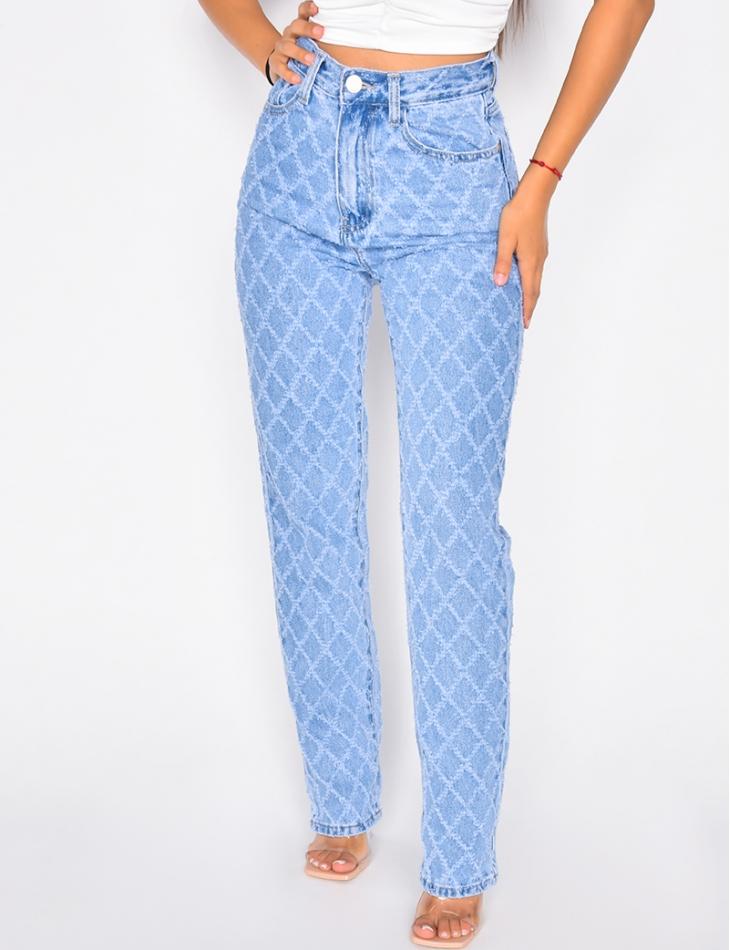 Jeans à damier en relief