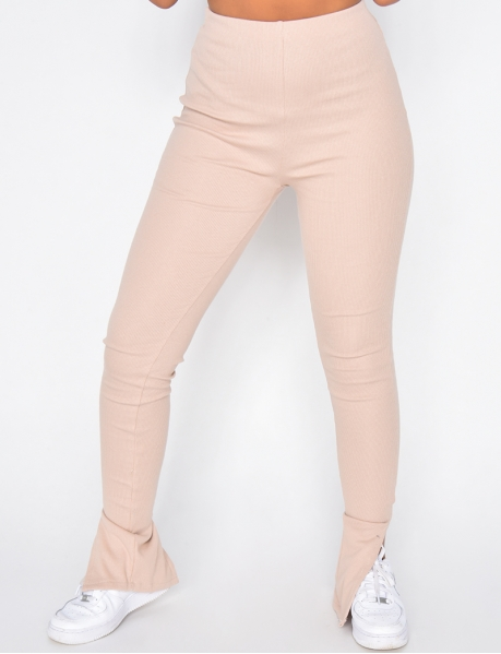 Ribbed Leggings with Slit