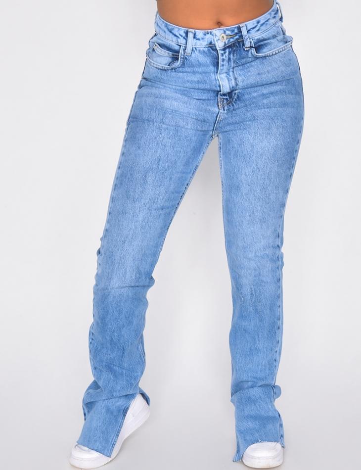 Jeans long à fentes