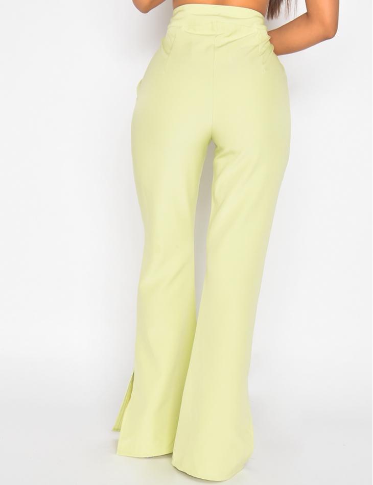 Pantalon de tailleur patte d'eph à fente