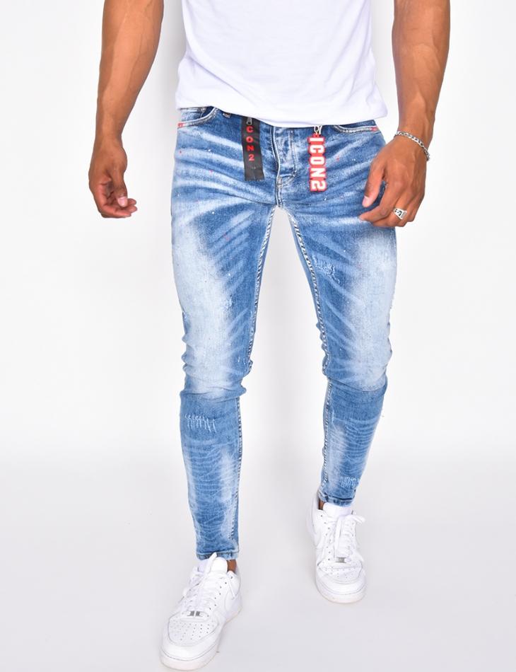 """Jeans à tâches de peinture """"ICON"""""""
