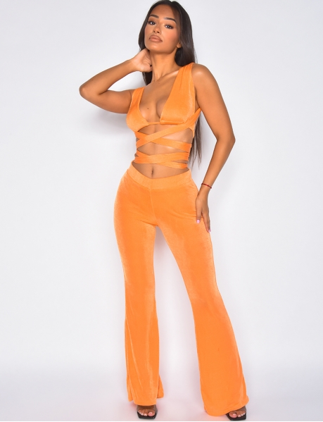 Tie crop top and loose trousers co-ord