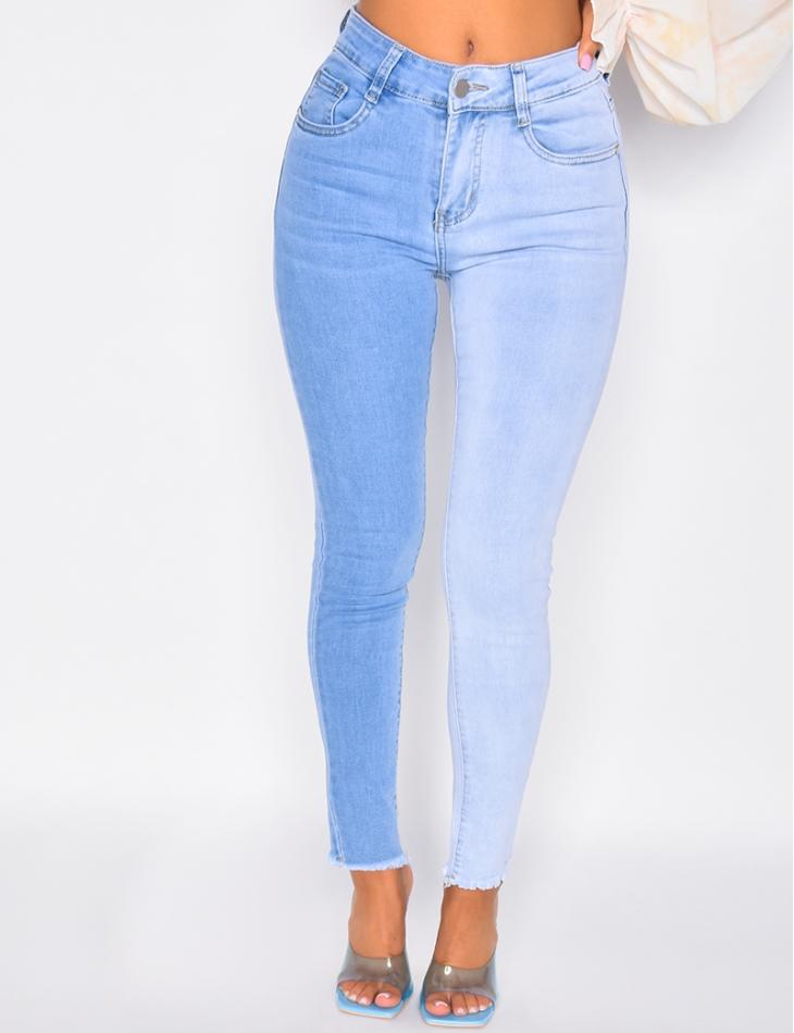 Jeans slim bi-color