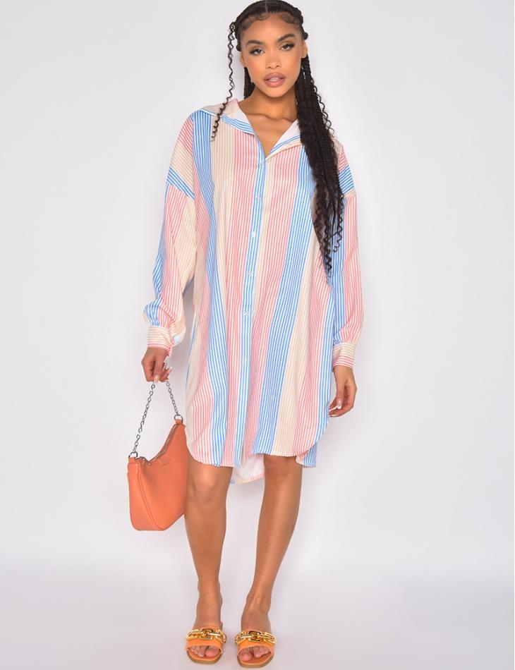Robe chemise a rayure à plusieurs couleurs