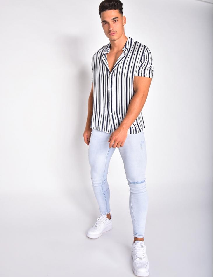 Chemise homme fluide à rayures