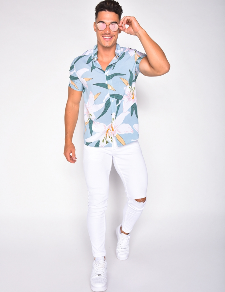 Chemise homme fluide à fleur