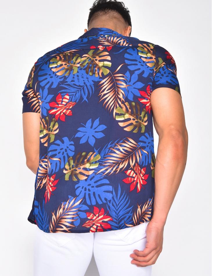 Chemise fluide à motif tropicaux