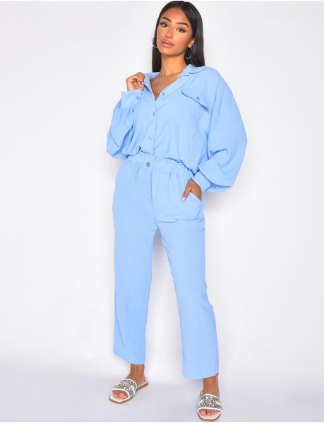 Ensemble pantaloon et chemise oversize à boutons