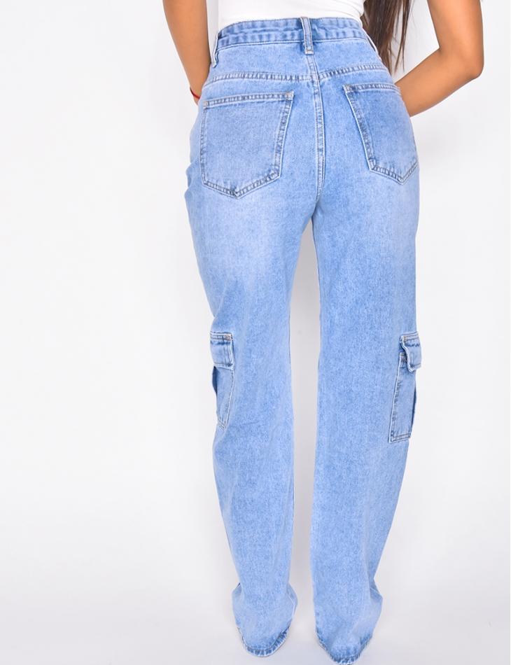 Jeans taille haute effet cargo