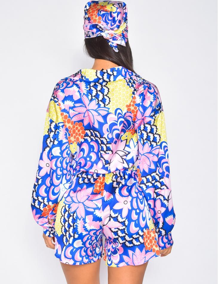Ensemble 3 pièces short,chemise et foulard en satin à motif