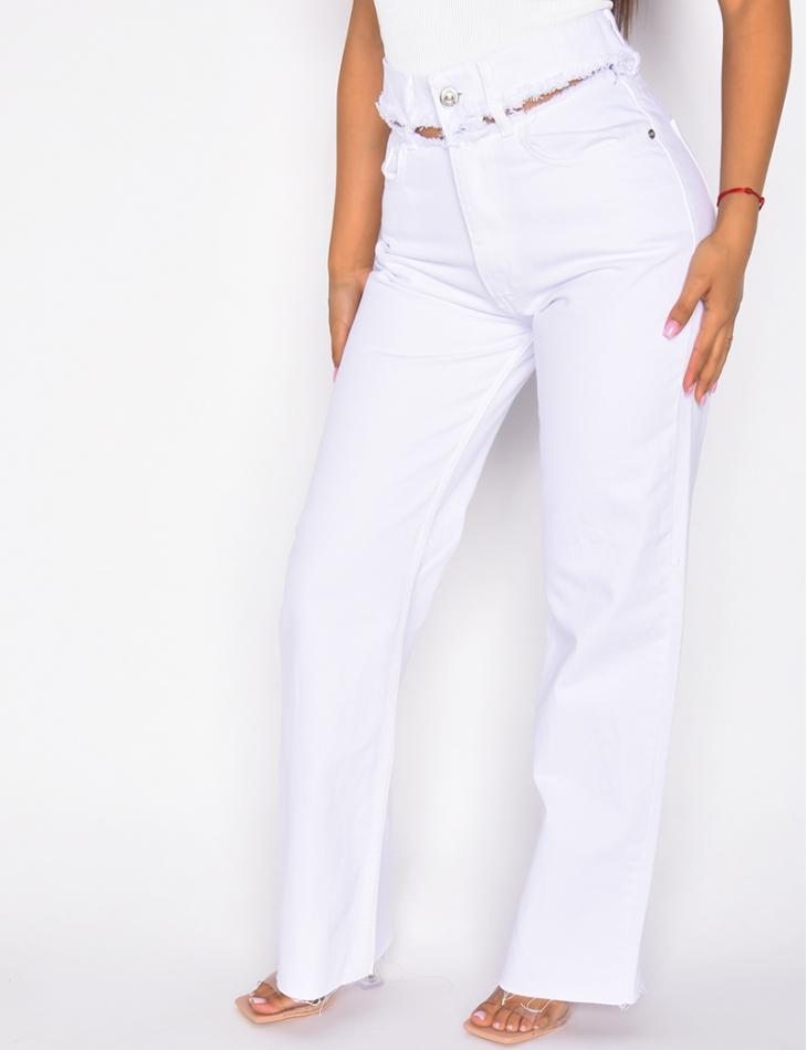Jeans pattes d'eph destroy à la taille