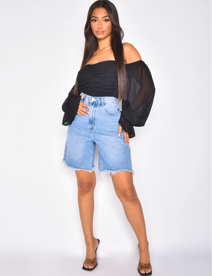 Jeans-Shorts, weit geschnitten