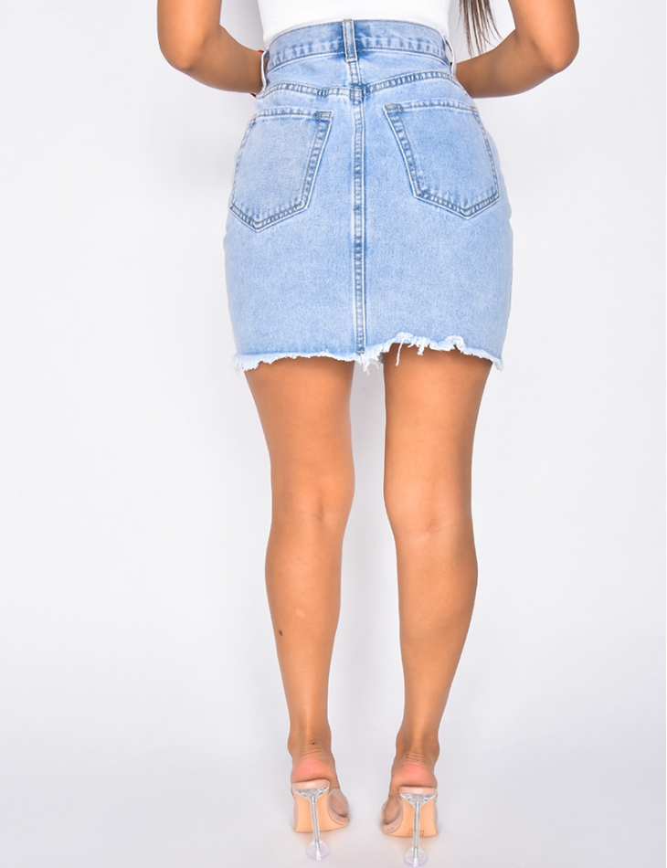 Jupe en jeans destroy