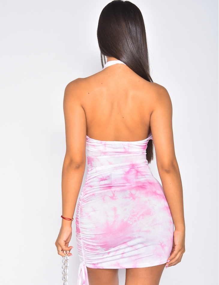Robe fluide ajourée tie and dye