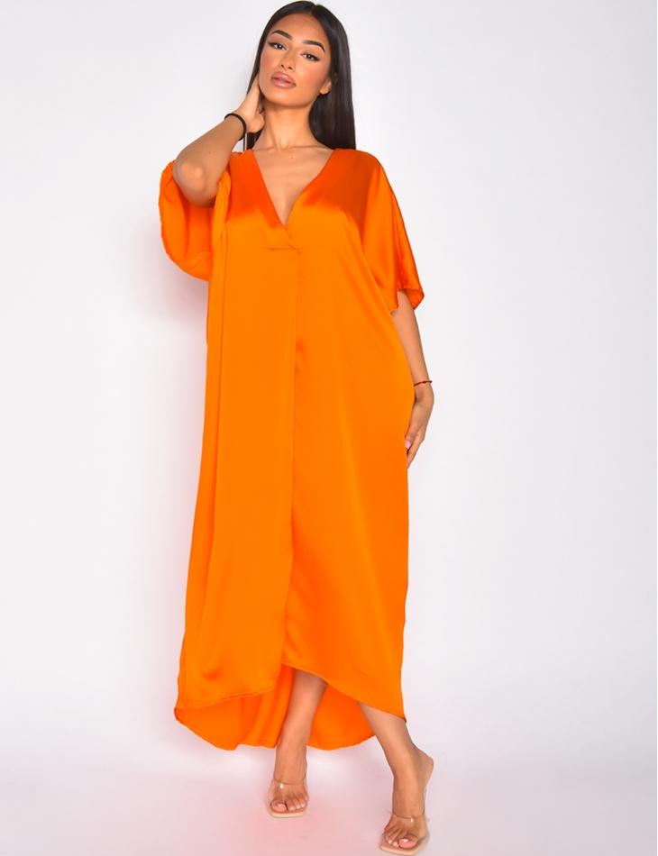 Robe longue oversize en satin