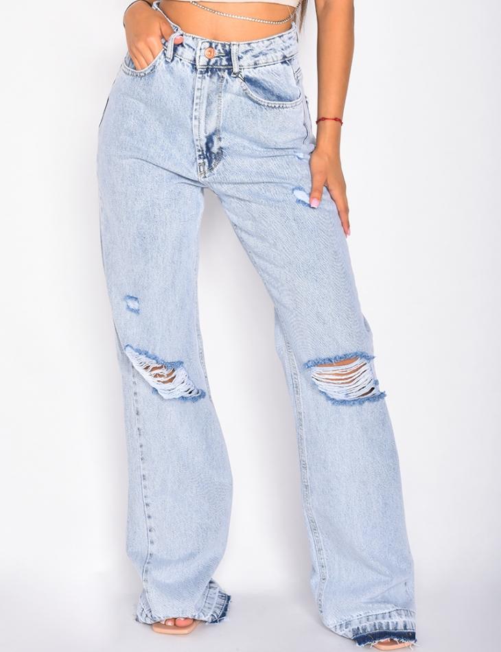Jeans long pattes d'eph destroy