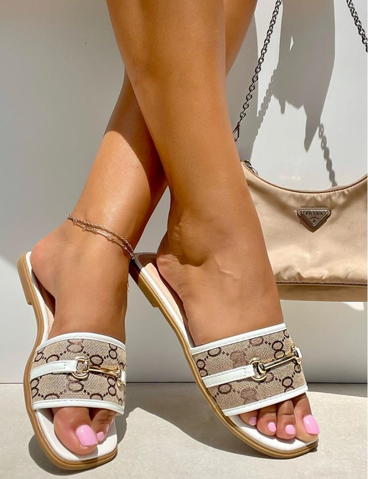 Sandales plates à motif maillons
