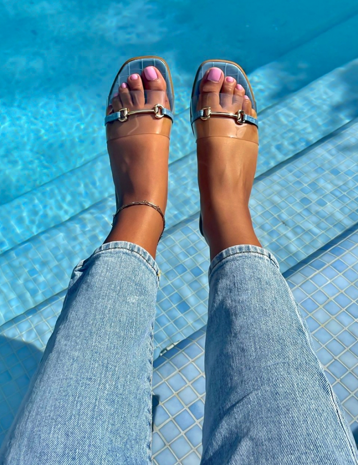 Faux leather sliders with buckle