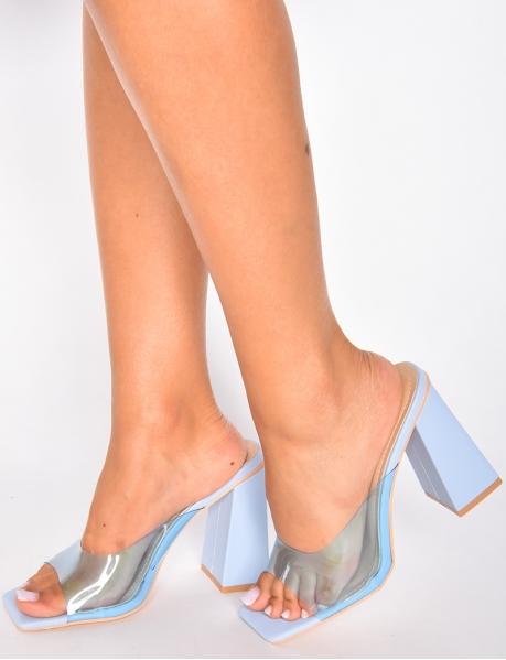 Sandales à talon lanière transparente