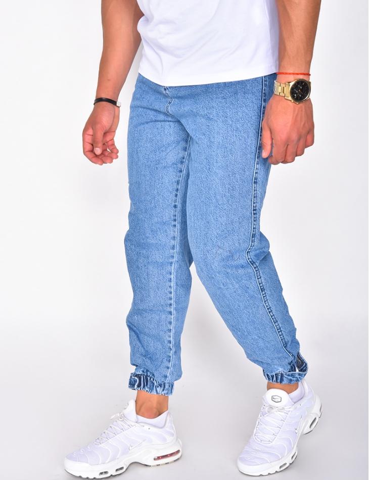 Jeans cargo à lanière jaune