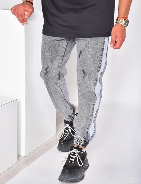 Jeans effet cargo bi-color