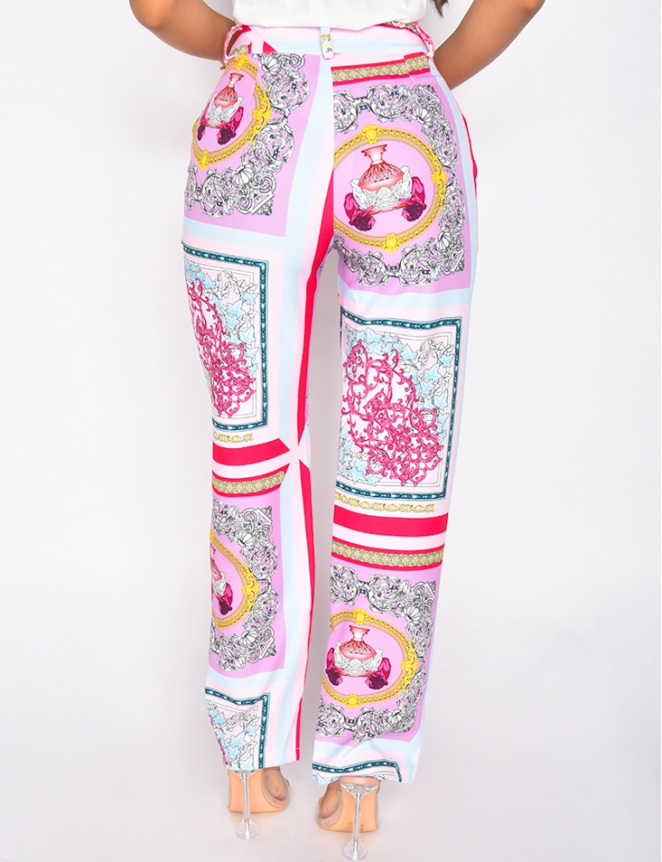 Pantalon taille haute motif baroque