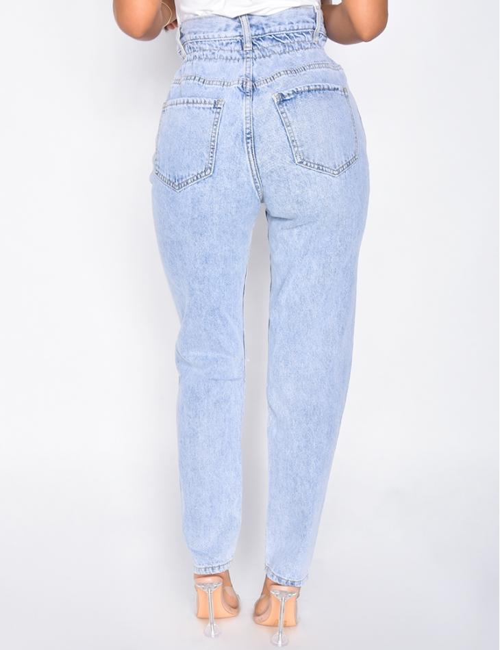 Jeans taille haute destroy à ceinture ficelle