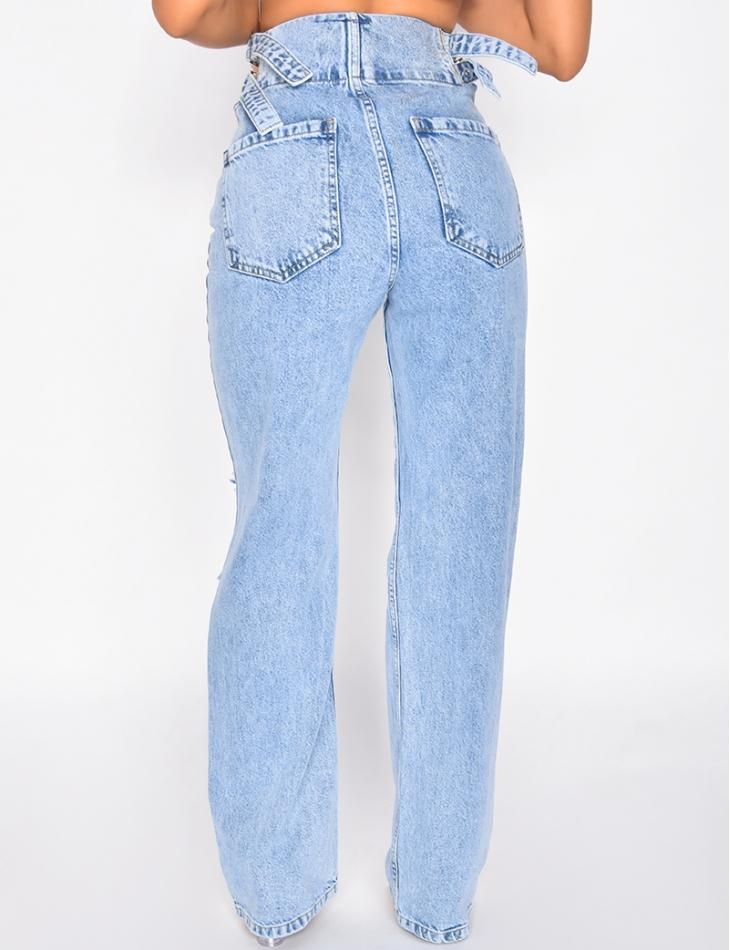 Jeans destroy avec sangles aux hanches