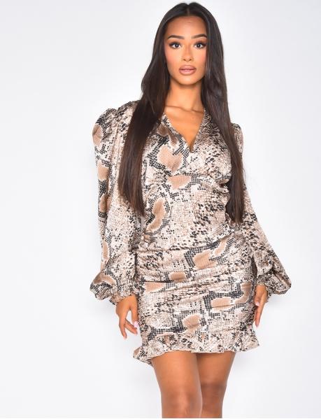 Snakeskin Pattern Dress with Ruffles