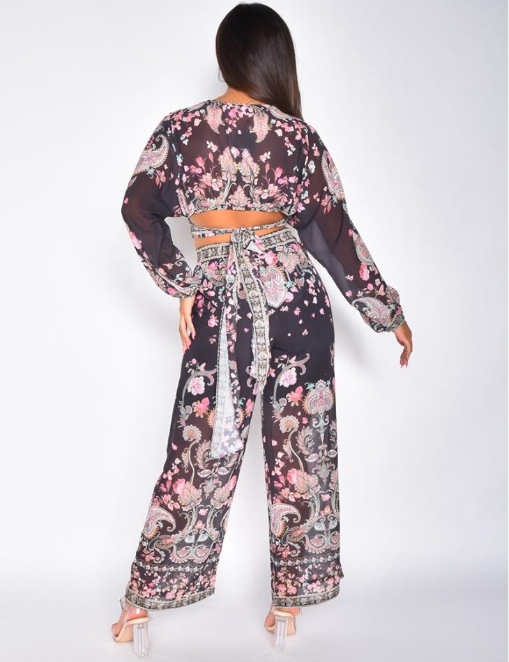 Ensemble pantalon et crop top à nouer motif baroque