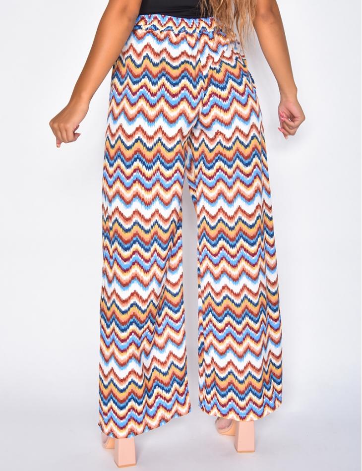 Pantalon large fluide motif chevrons