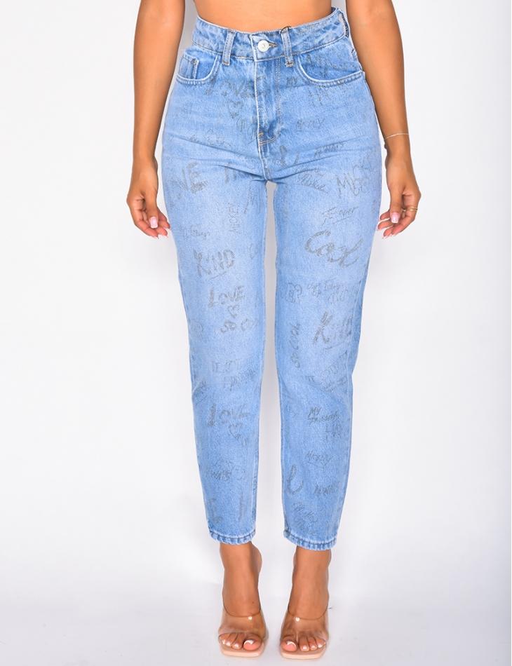 Jeans taille haute à grafitis