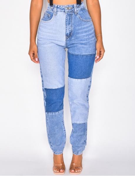 Jeans à empiecement bi-color
