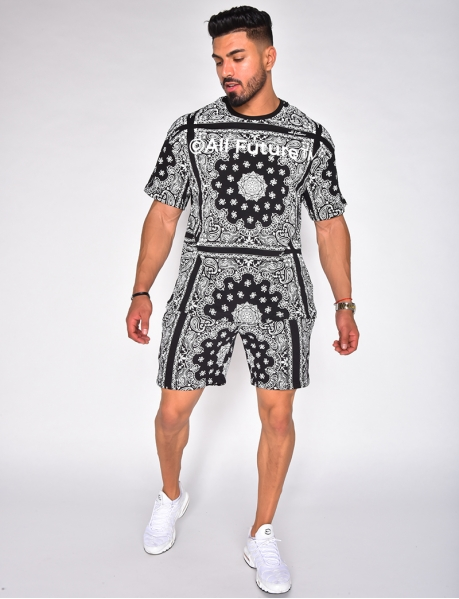 """Ensemble t-shirt et short """"All future"""" motif bandana"""