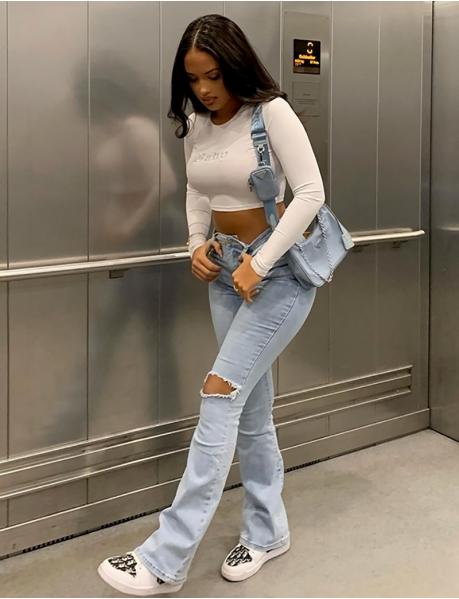 Jeans High Waist mit Schlag