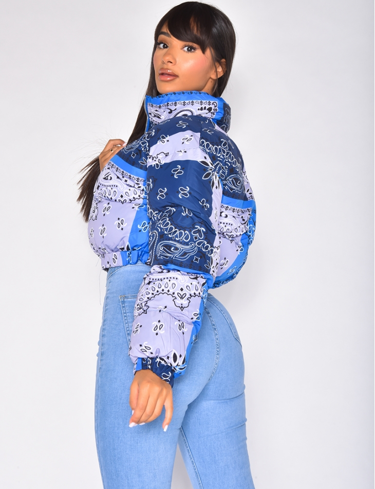 Doudoune courte à motif bandana